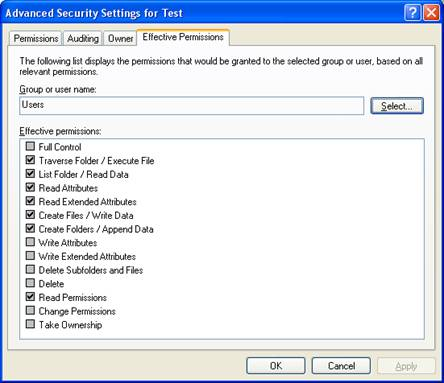 Effective Permissions (Windows)