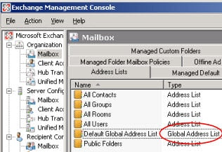 Global Address List (Exchange Management Console)