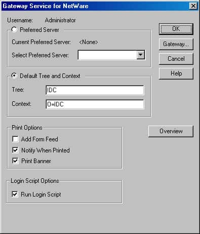 Using Gateway Service for NetWare