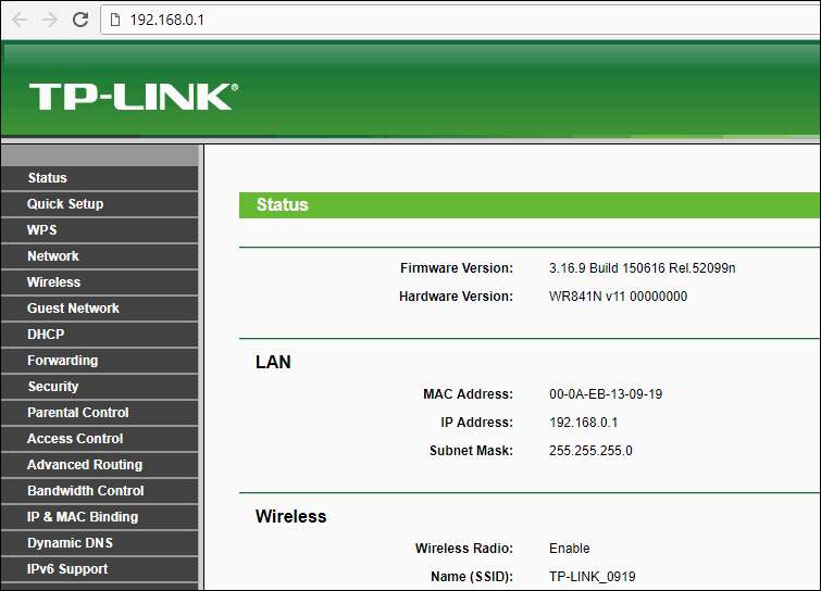 HTMLA - Router administration - Web Browser
