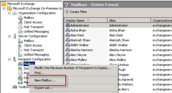 Leaf Object example - Exchange Mailbox