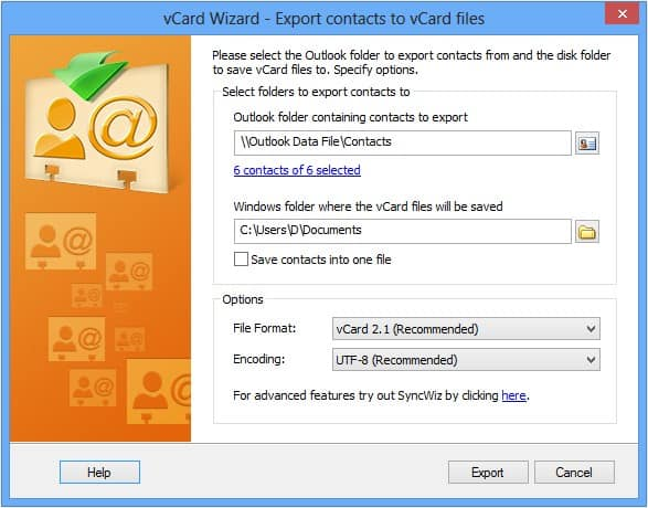 vCard - Exporting contacts from Outlook to vCard file