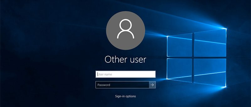 Interactive Logon screen (Windows 10)