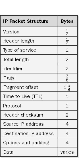 Internet Protocol packet structure