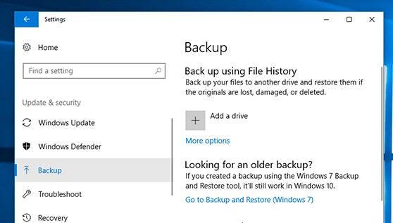 Backup Windows 10 - File History