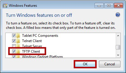 Adding TFTP feature on Windows