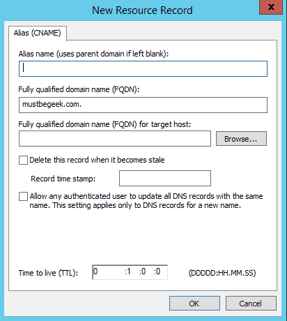 Creating a CNAME Record in Windows Server