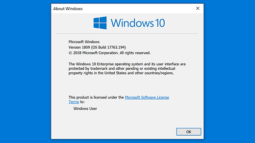 Click on Microsoft Software License Terms to open the End-User License Agreement