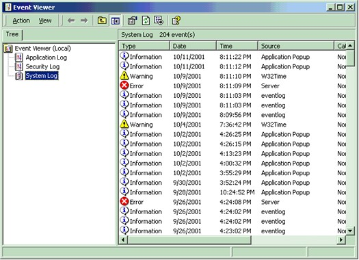 System Log (Event Viewer)