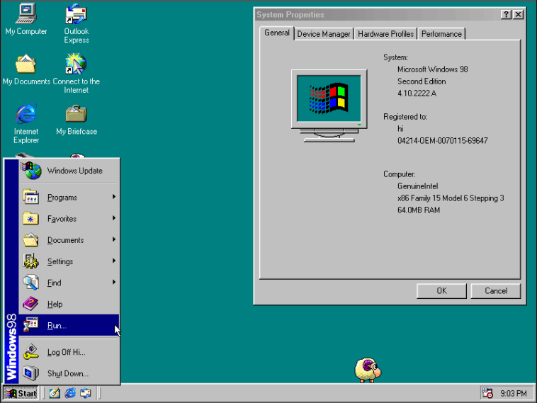 Windows 98 desktop and System Properties window