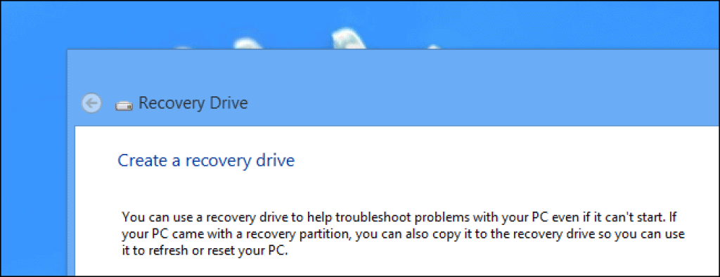 Emergency Repair Disk / Recovery Drive
