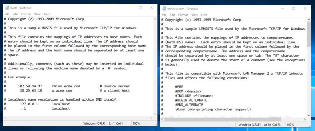Difference between Lmhosts and host files. The two files, side by side.