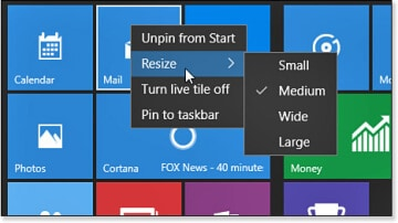 changing the size of a Start menu tile